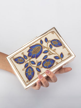 White Handcrafted Beaded Iron Frame Clutch