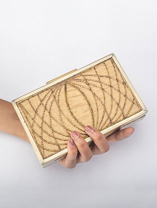 Gold Handcrafted Zardosi Iron Frame Clutch