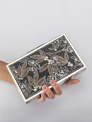 Black Handcrafted Zardosi Embroidered Iron Frame Clutch