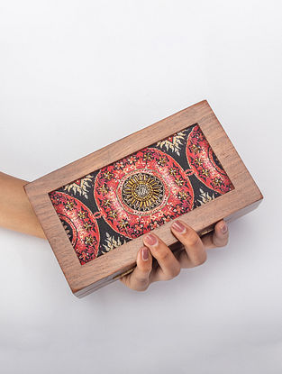 Multicolor Handcrafted Printed Wooden Frame Clutch