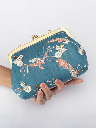 Teal blue Handcrafted Mukesh work Clutch