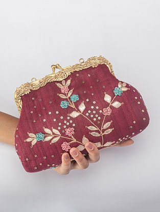 Carmine Red Handcrafted Gota Work Clutch