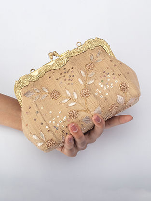 Gold Handcrafted Gota Work Clutch