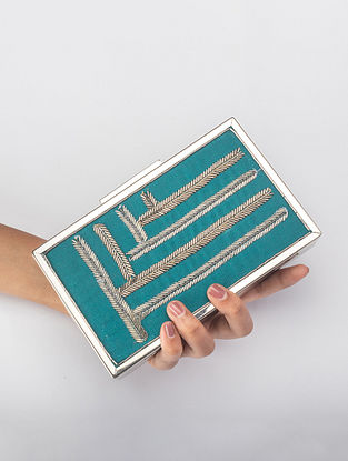 Teal Handcrafted Zardosi Iron Frame Clutch