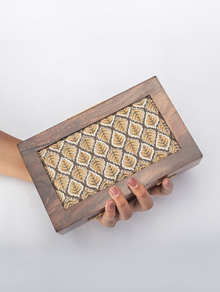 Grey Handcrafted Printed Wooden Frame Clutch