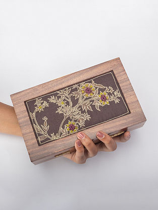 Brown Handcrafted Printed Wooden Frame Clutch