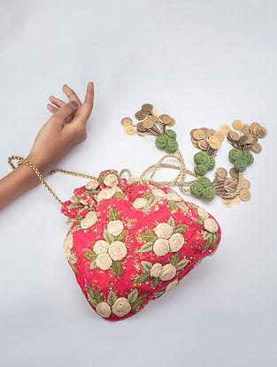 Rani Pink Handcrafted Zardosi Silk Potli