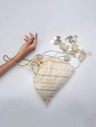 White Handcrafted Banarsi Silk Potli