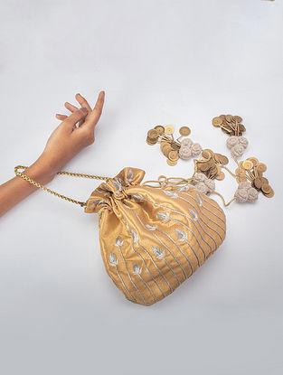 Mustard Handcrafted Banarsi Silk Potli