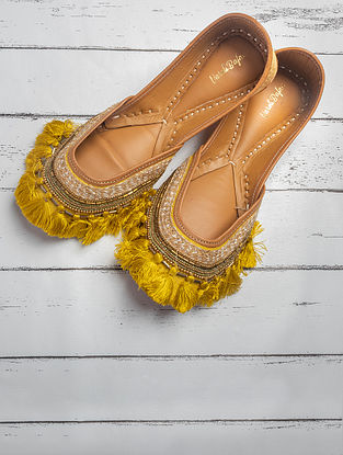 Yellow Hand Embroidered Heavy Linen Jutti