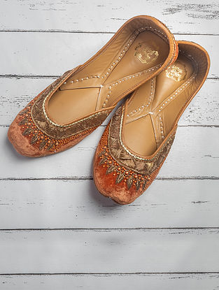 Rust Orange Handcrafted Velvet Jutti