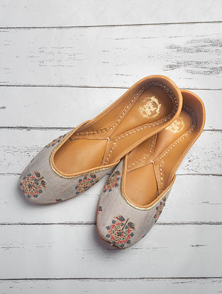 Grey Orange Handcrafted Printed Cotton Satin Juttis