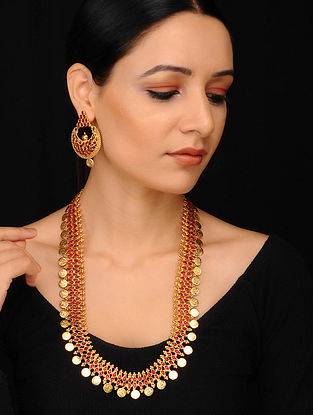 Maroon Gold Tone Handcrafted Necklace with Earrings (Set of 2)