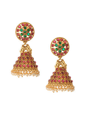 Maroon Green Gold Tone Handcrafted Jhumki Earrings with Pearls