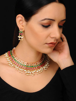 Maroon Green Gold Tone Handcrafted Necklace with Earrings (Set of 2)