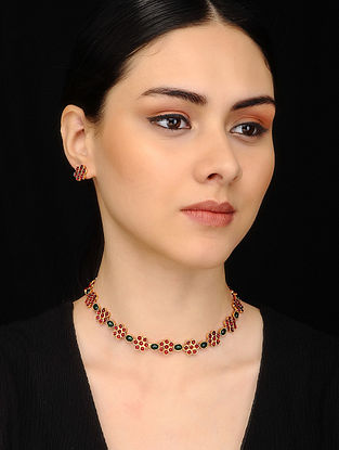 Maroon Green Gold Tone Necklace with Earrings (Set of 2)