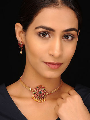 Pink Green Gold Tone Necklace with Earrings (Set of 2)