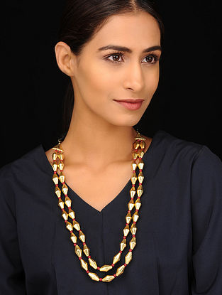 Red Gold Tone Tribal Necklace