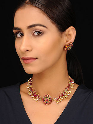 Pink Red Gold Tone Necklace with Earrings (Set of 2)