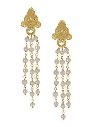 Tribal Gold Tone Silver Earrings with Pearls