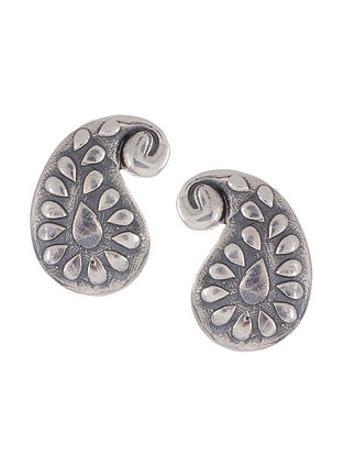 Tribal Silver Earrings with Paisley Design