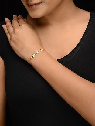 Turquoise Enameled Gold-plated Silver Bracelet