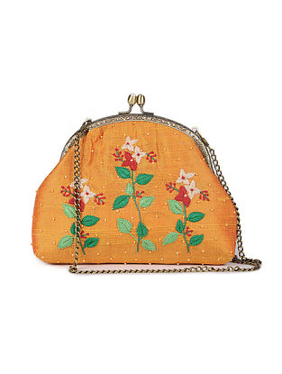 Orange Hand Embroidered Parsi Work Batuwa Sling