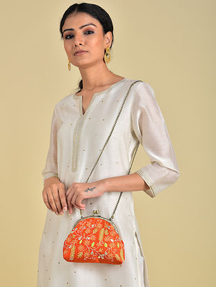 Orange - Green Hand Embroidered Parsi Work Batuwa Sling