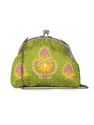 Green Hand Embroidered Parsi Work Batuwa Sling