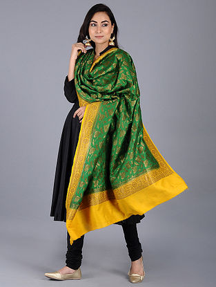 Green-Yellow Benarasi Muga Silk Stole
