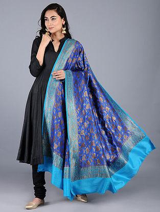 Blue Benarasi Muga Silk Stole