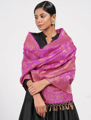 Pink Benarasi Muga Silk Stole