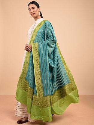 Turquoise-Green Benarasi Muga Silk Dupatta
