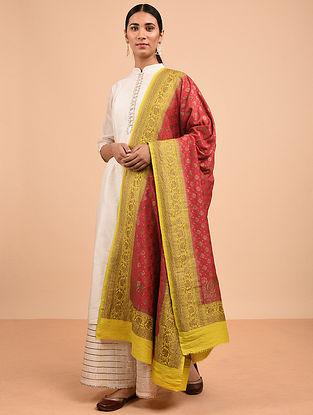 Red-Yellow Benarasi Muga Silk Dupatta