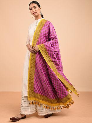 Pink-Yellow Benarasi Muga Silk Dupatta with Tassels
