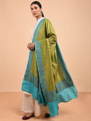 Green-Blue Benarasi Muga Silk Dupatta