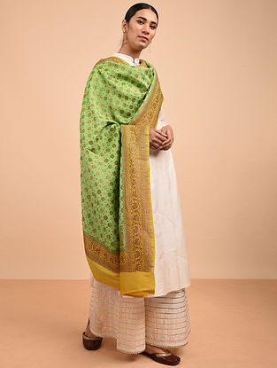 Green-Yellow Benarasi Muga Silk Dupatta