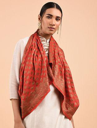 Red Benarasi Muga Silk Stole