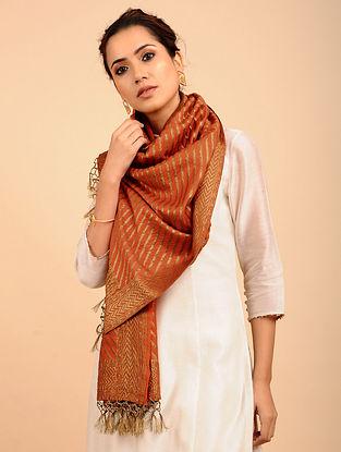 Orange Benarasi Muga Silk Stole
