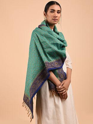 Green-Blue Benarasi Muga Silk Stole