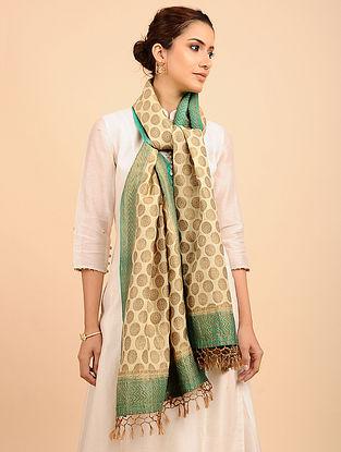 Beige-Green Benarasi Muga Silk Stole