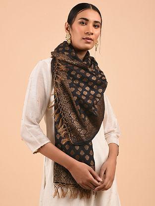 Black Benarasi Muga Silk Stole