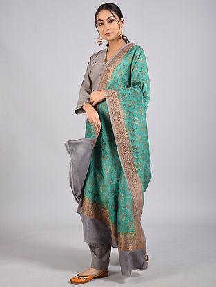 Green-Grey Handwoven Benarasi Muga Silk Dupatta