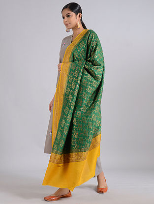 Green-Yellow Handwoven Benarasi Muga Silk Dupatta