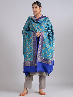 Blue Handwoven Benarasi Muga Silk Dupatta