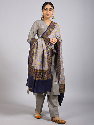 Grey-Blue Handwoven Benarasi Muga Silk Dupatta