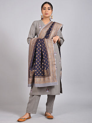 Blue-Grey Handwoven Benarasi Muga Silk Dupatta