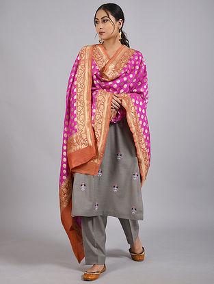 Pink-Orange Handwoven Benarasi Muga Silk Dupatta