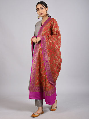 Red-Purple Handwoven Benarasi Muga Silk Dupatta