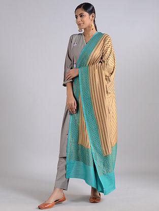 Golden-Blue Handwoven Benarasi Muga Silk Dupatta